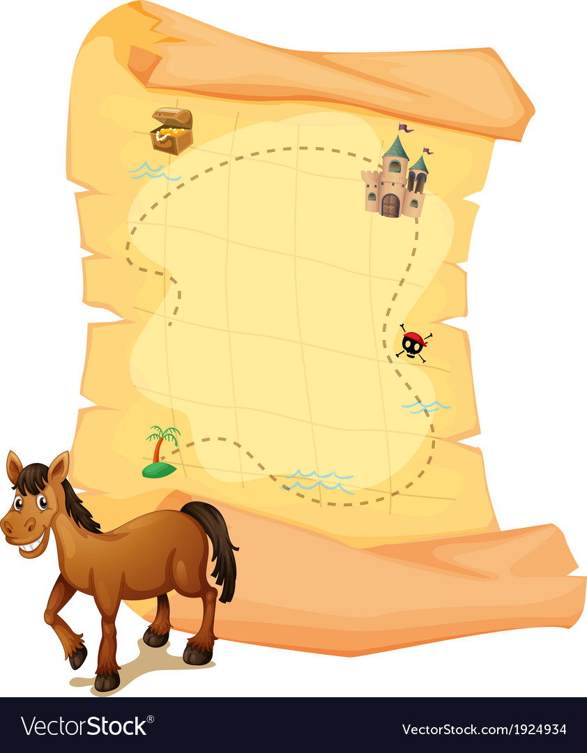 A horse in front of the treasure map vector | Price: 1 Credit (USD $1)