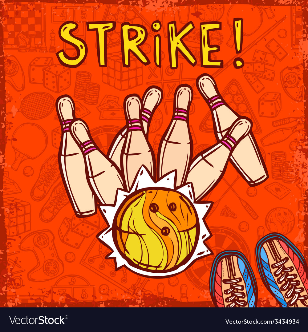 Bowling sketch background vector   Price: 1 Credit (USD $1)