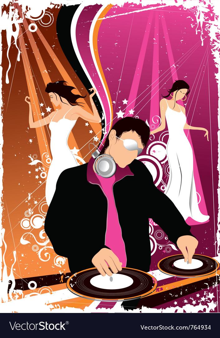 Disco jockey and dancing girls vector   Price: 1 Credit (USD $1)