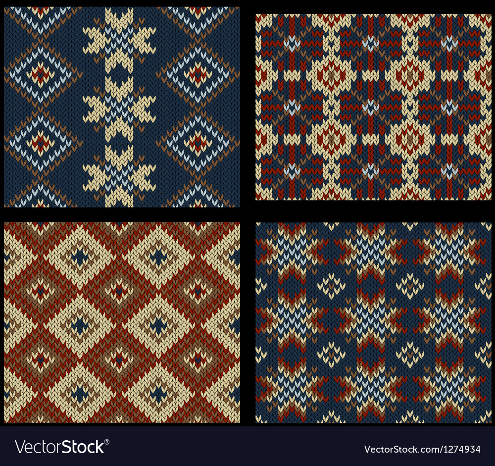 Four seamless knitted swatches with folk ornament vector   Price: 1 Credit (USD $1)