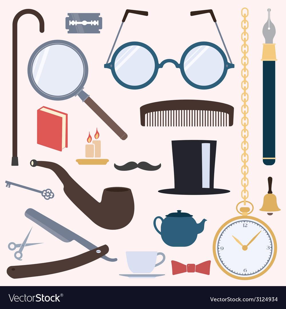 Gentlemens vintage design elements set vector | Price: 1 Credit (USD $1)