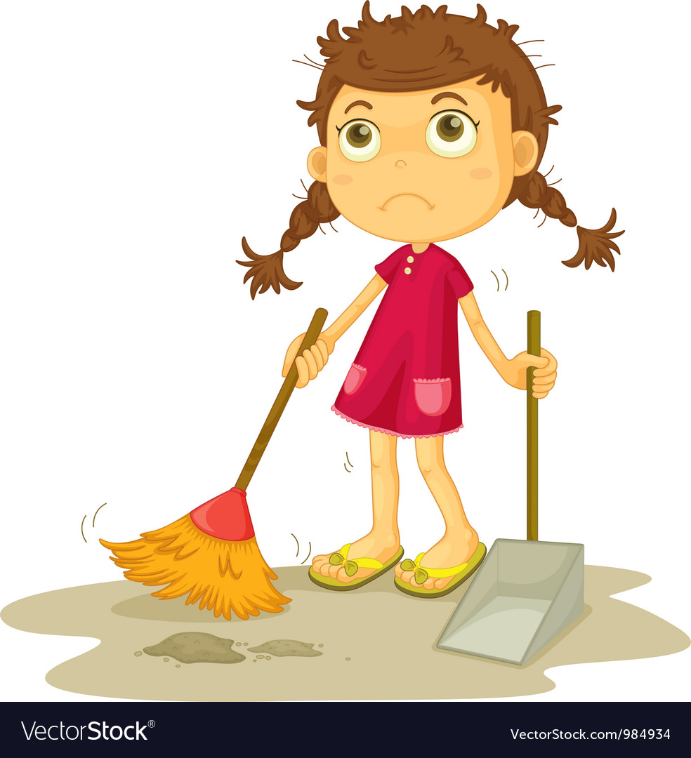Girl cleaning floor vector | Price: 3 Credit (USD $3)