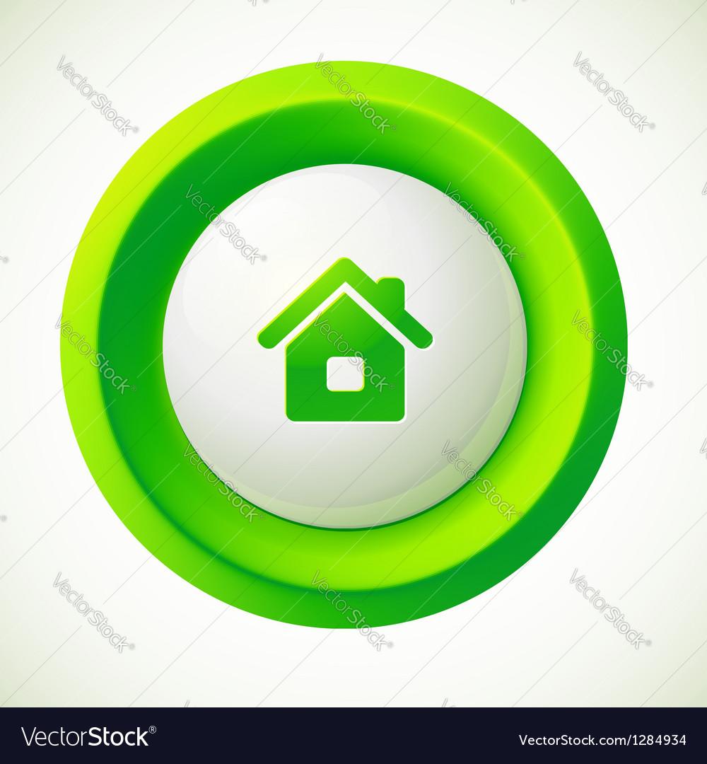 Green plastic home round button vector | Price: 1 Credit (USD $1)