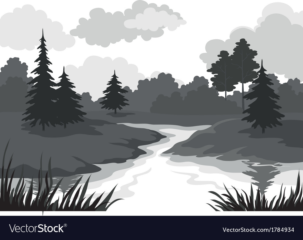 Landscape trees and river silhouette vector | Price: 1 Credit (USD $1)