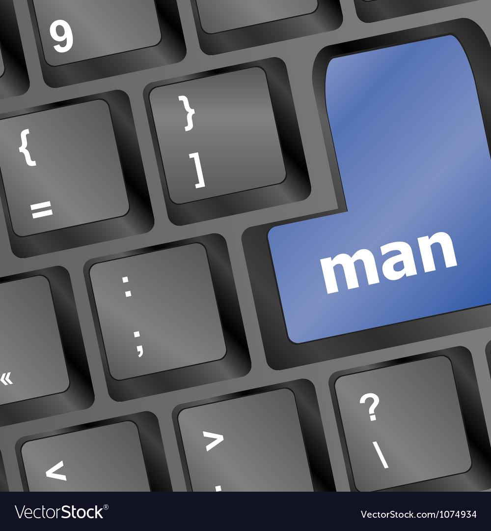 Man words on computer pc keys vector | Price: 1 Credit (USD $1)