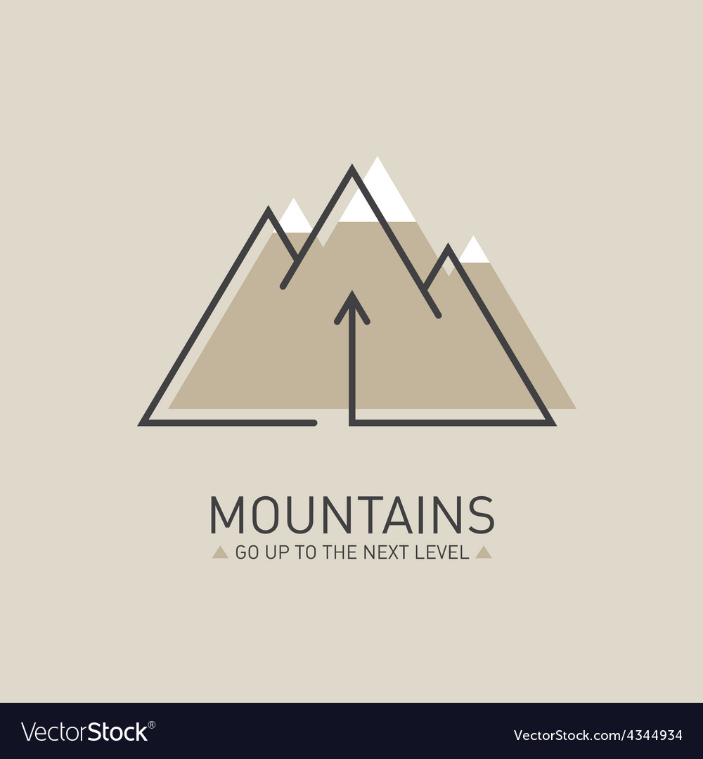 Mountains logo in line style mono line logotype vector | Price: 1 Credit (USD $1)