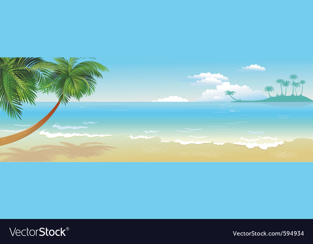 Panoramic tropical beach with palm vector | Price: 3 Credit (USD $3)