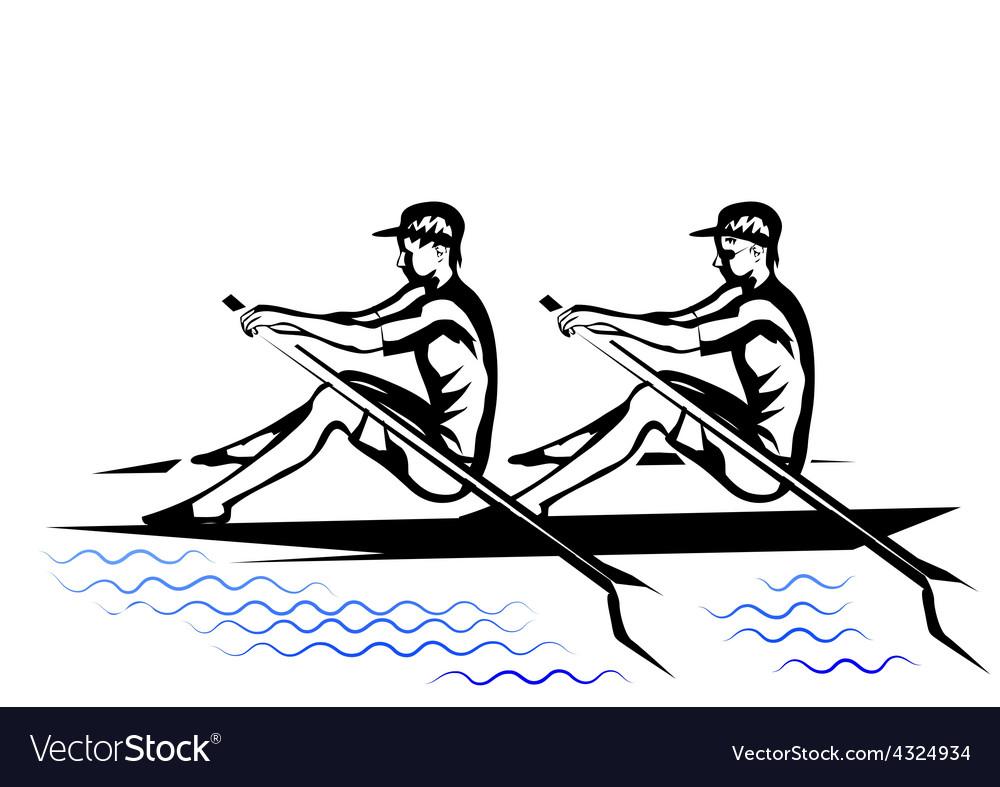Team rowing vector