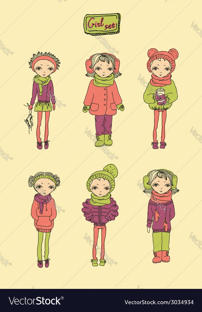 Teenage girl set vector | Price: 1 Credit (USD $1)