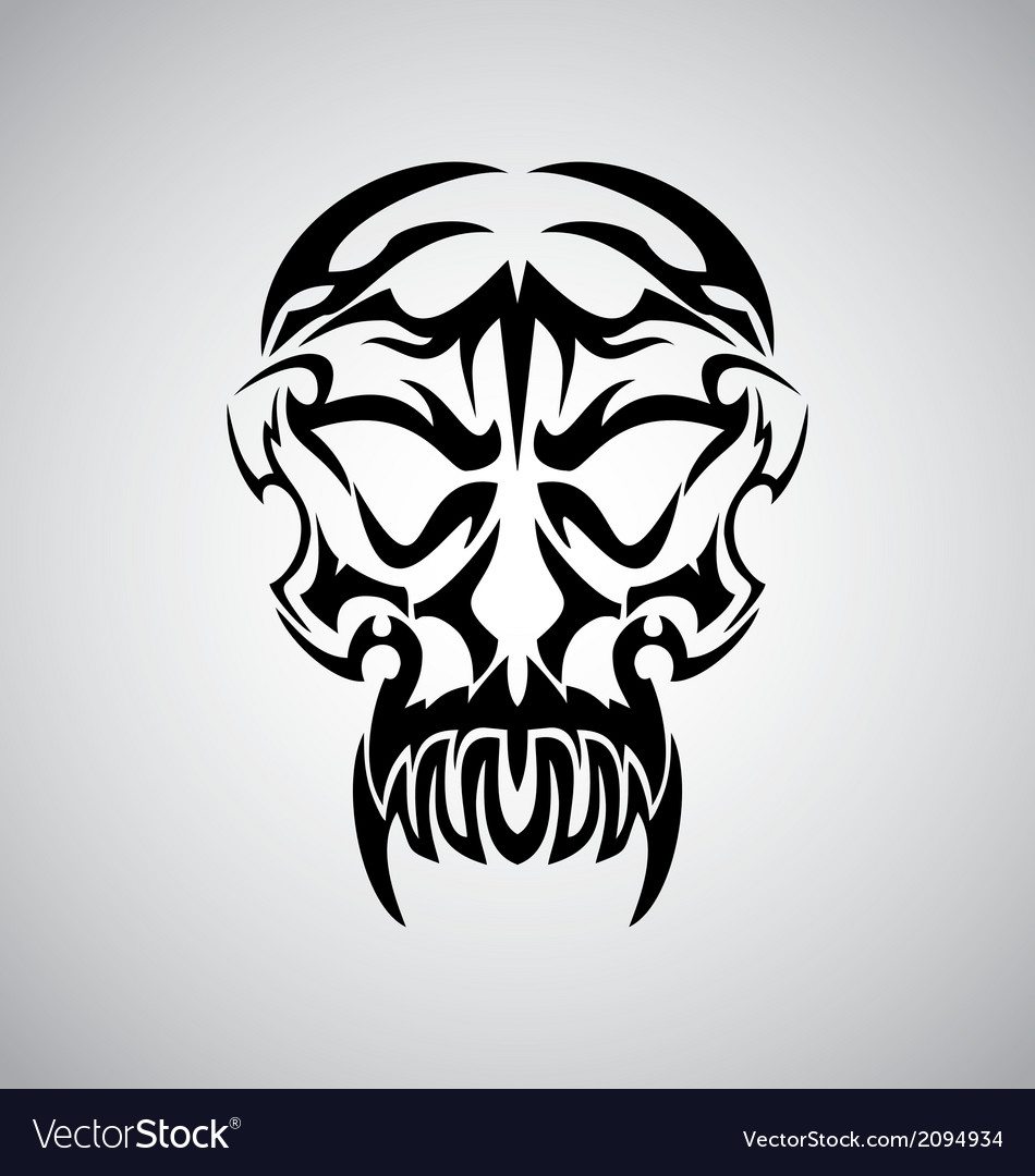 Tribal demon skull vector | Price: 1 Credit (USD $1)