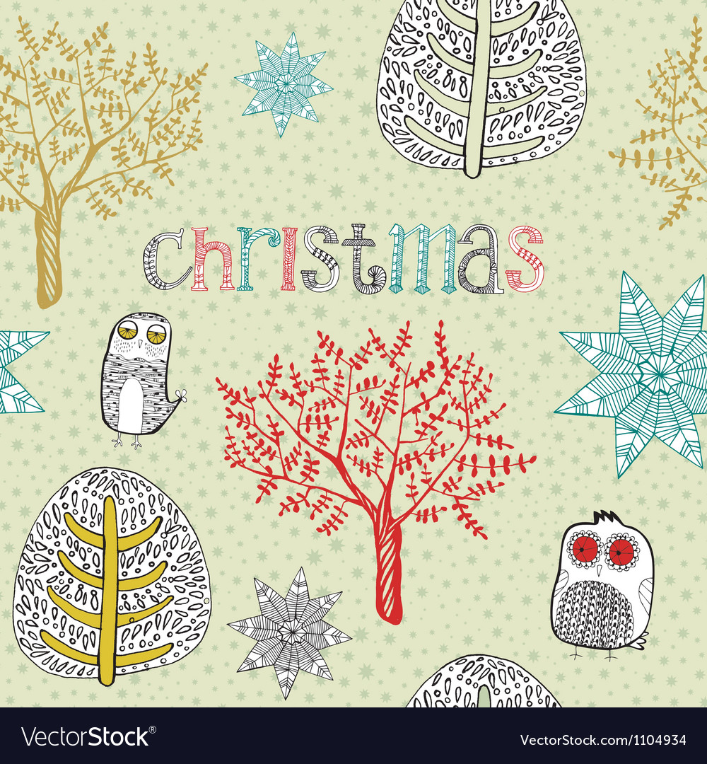 Vintage christmas hand drawn backgrounds vector | Price: 1 Credit (USD $1)
