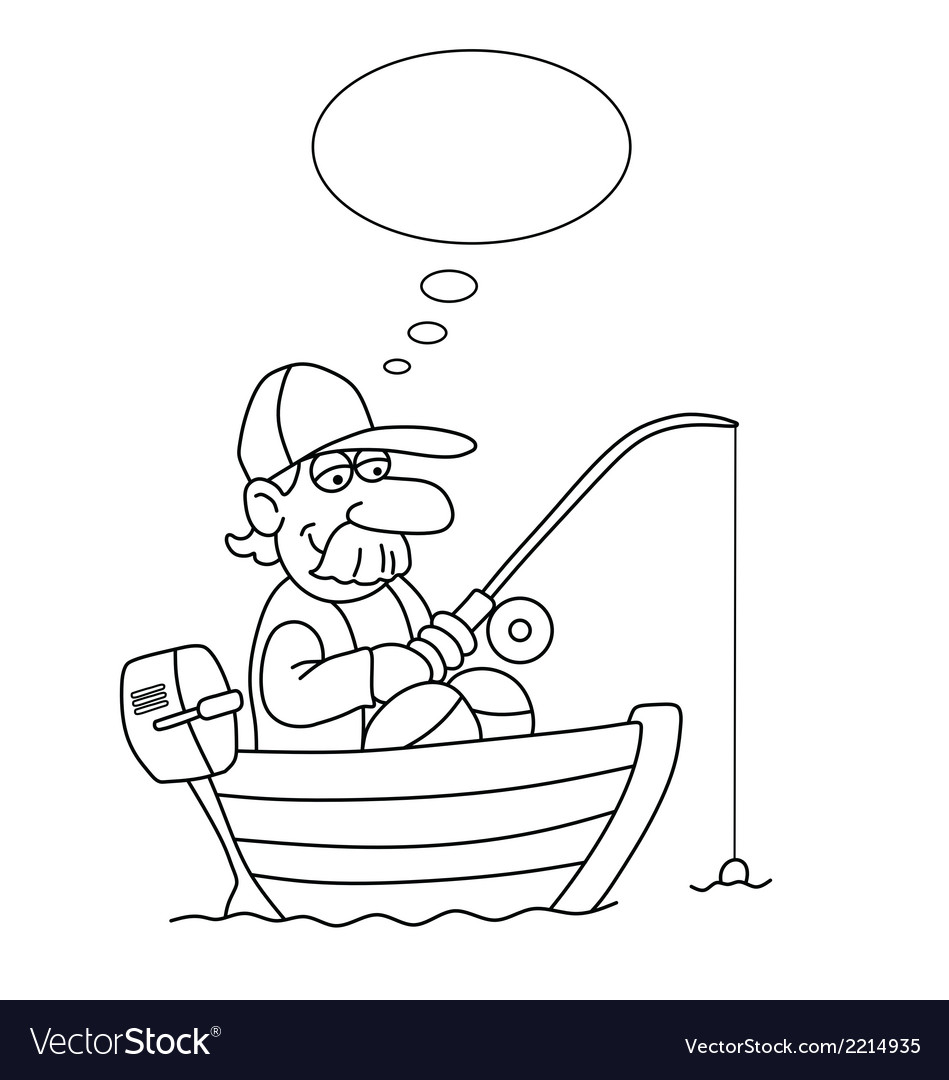 Cartoon fisherman vector | Price: 1 Credit (USD $1)