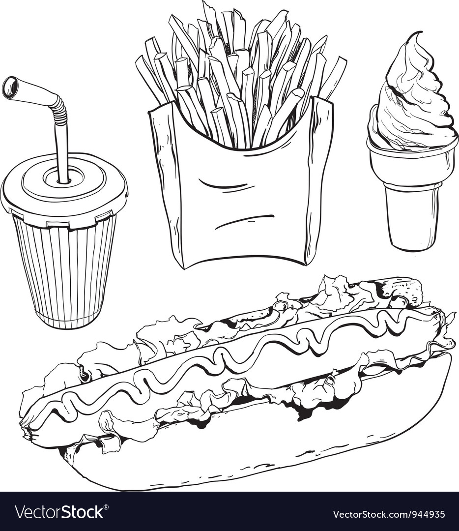 Fast food set isolated on white vector   Price: 1 Credit (USD $1)