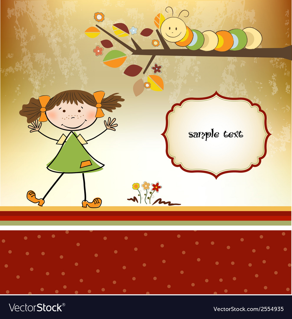 Fun background with little girl vector | Price: 1 Credit (USD $1)