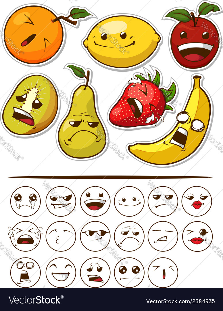 Funny fruit with expression vector | Price: 1 Credit (USD $1)