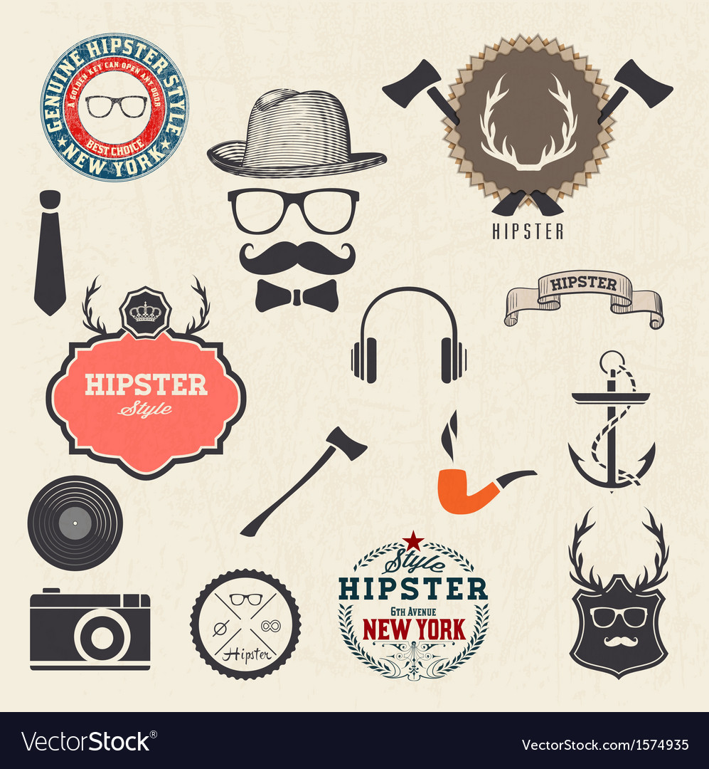 Hipster style design elements vector | Price: 1 Credit (USD $1)
