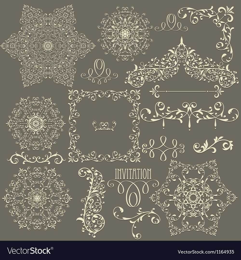 Lacy vintage floral design elements vector | Price: 1 Credit (USD $1)