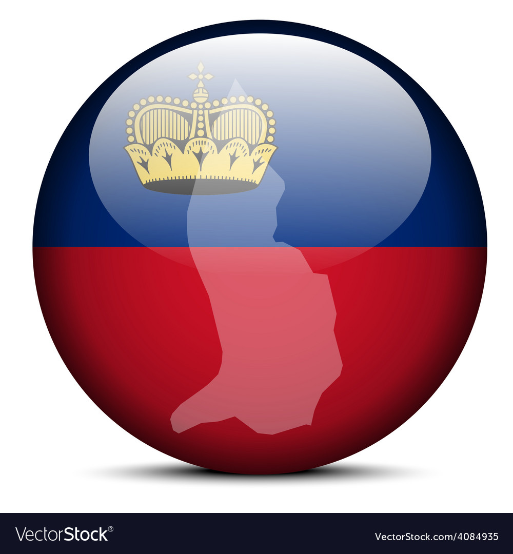 Map on flag button of liechtenstein vector | Price: 1 Credit (USD $1)