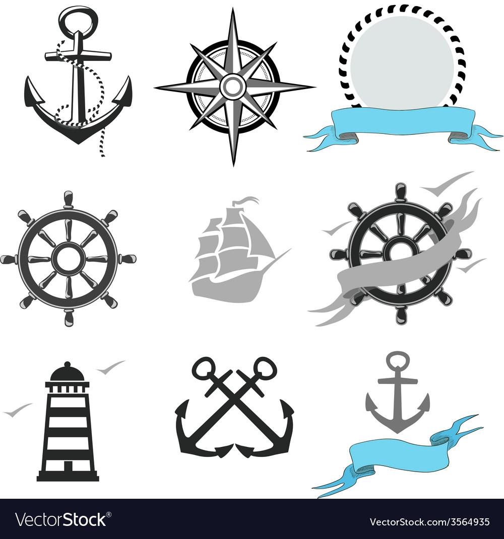Set marine icons vector | Price: 1 Credit (USD $1)