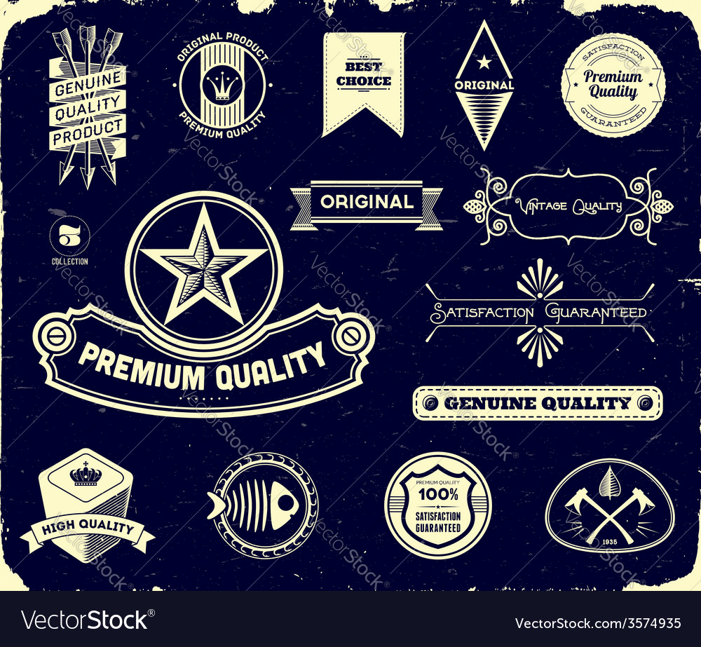 Vintage labels on the black collection 3 vector | Price: 1 Credit (USD $1)