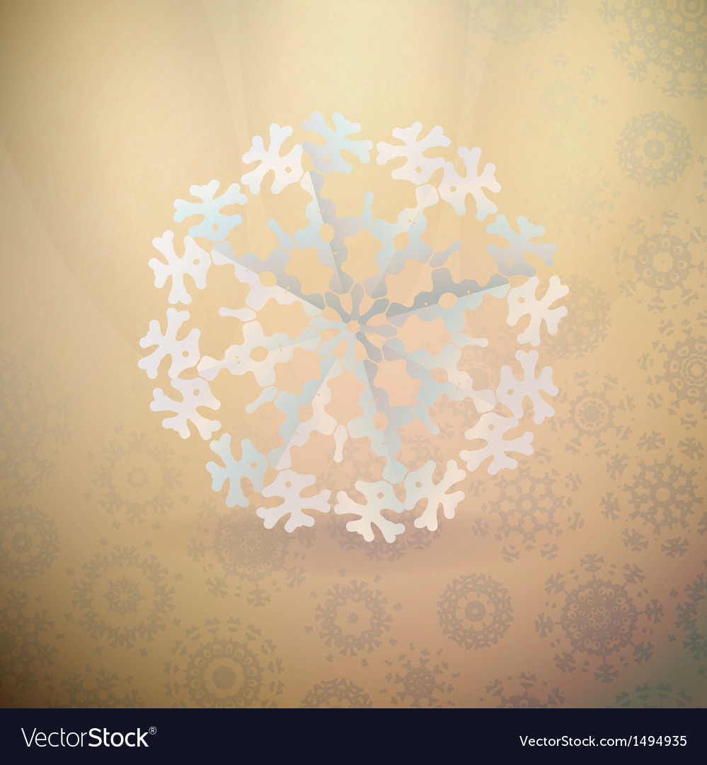White paper christmas snowflake on a light vector | Price: 1 Credit (USD $1)