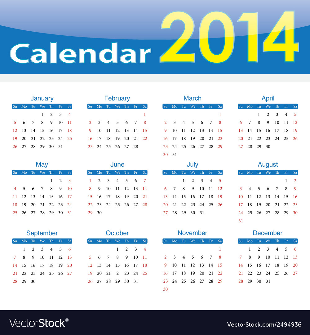 Calendar 2014 popular template on isolated backgro vector | Price: 1 Credit (USD $1)