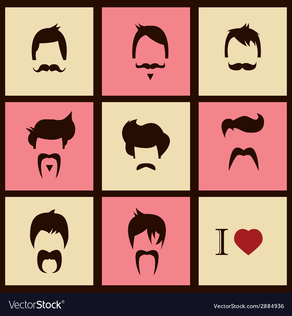 Collection of hipster retro hair styles and vector | Price: 1 Credit (USD $1)