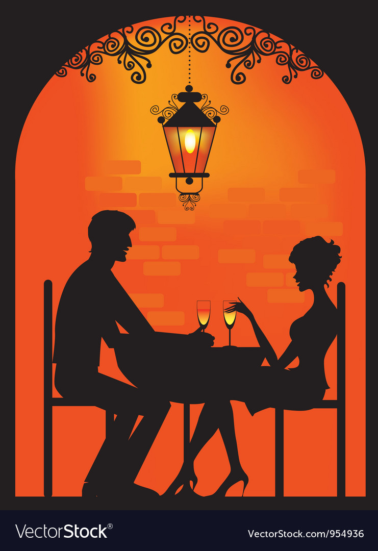 Couple dinning silhouette vector | Price: 1 Credit (USD $1)