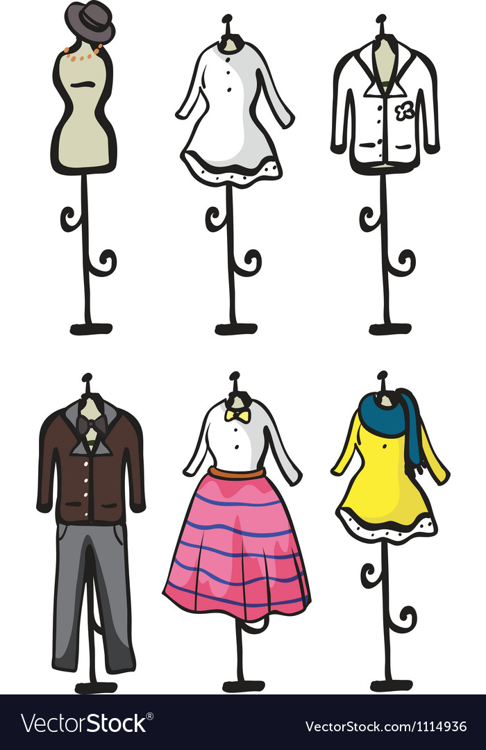 Display of various garments vector | Price: 1 Credit (USD $1)
