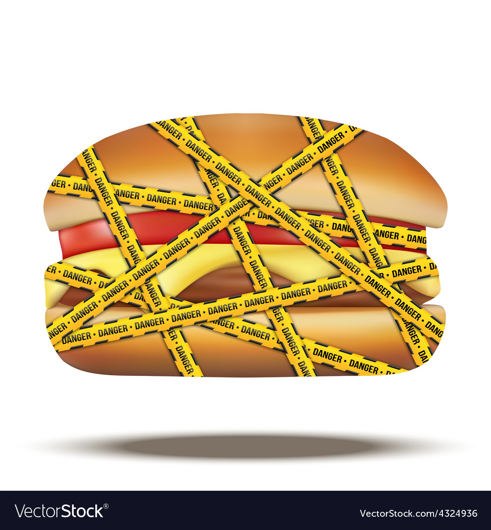 Fast food burger with danger warning tapes vector | Price: 1 Credit (USD $1)