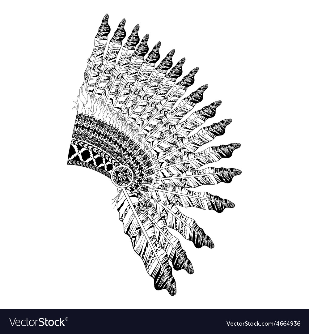 Feathered war bannet in zentangle style headdress vector | Price: 1 Credit (USD $1)