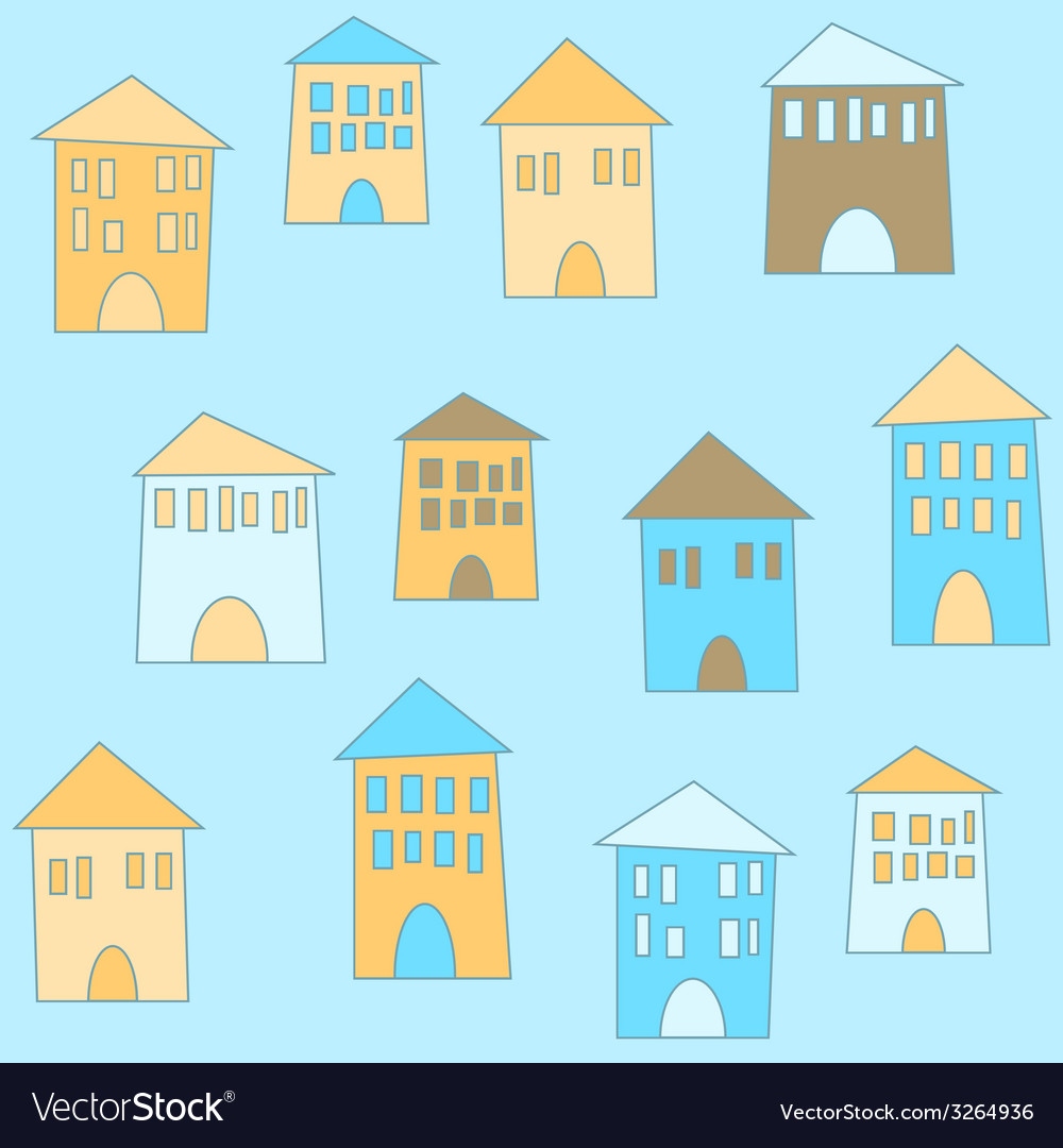 Flat cute houses in vintage style vector | Price: 1 Credit (USD $1)