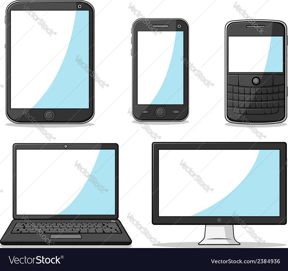Gadget smart phone tablet laptop and computer vector | Price: 1 Credit (USD $1)