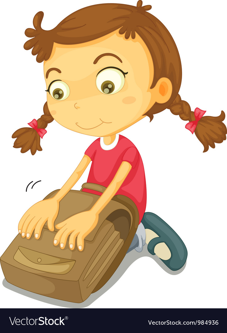 Girl packing school bag vector | Price: 3 Credit (USD $3)