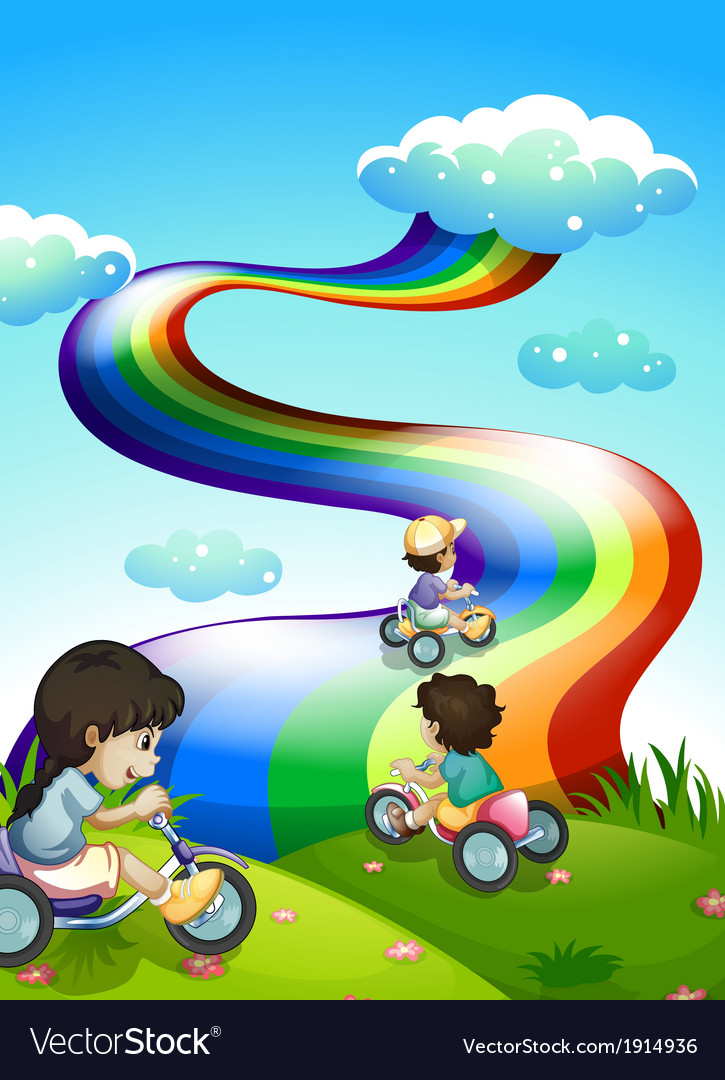 Kids playing at the hilltop with a rainbow in the vector | Price: 3 Credit (USD $3)