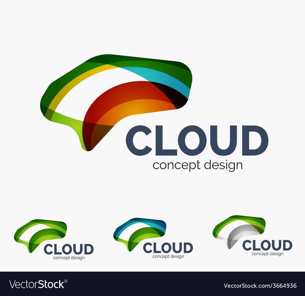 Modern cloud logo set vector | Price: 1 Credit (USD $1)