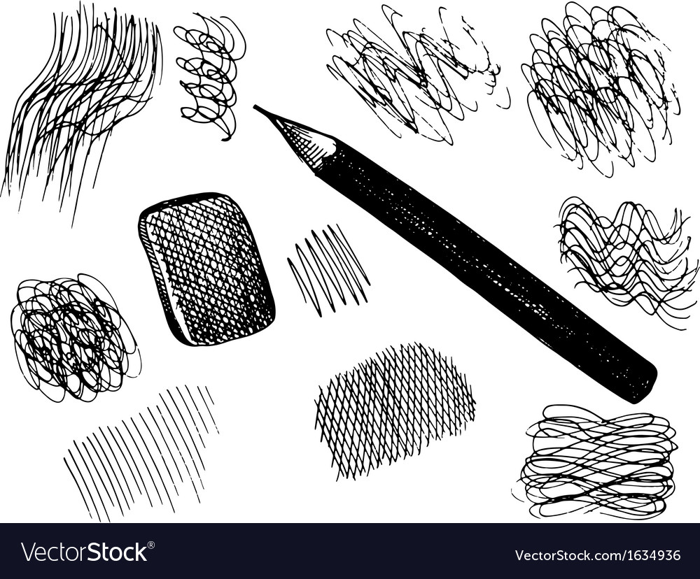 Pencil and scribbles sketch collection vector | Price: 1 Credit (USD $1)