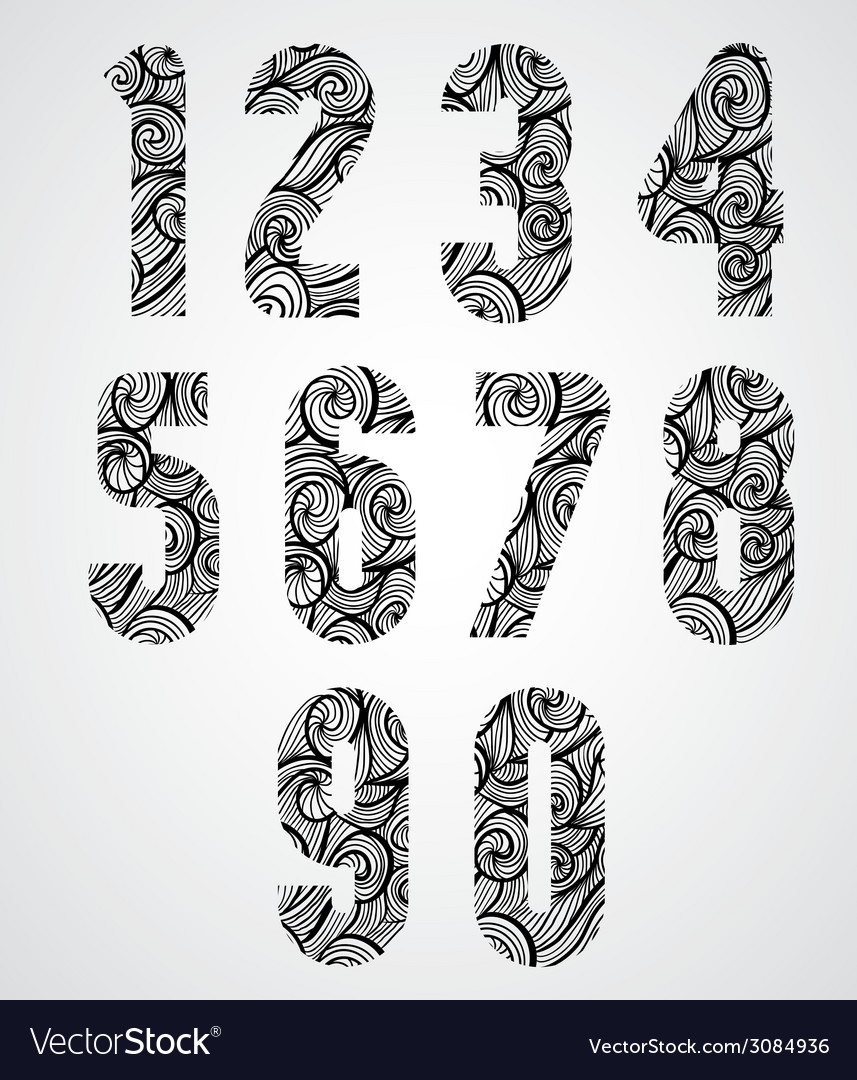 Retro shaped bold numbers vector | Price: 1 Credit (USD $1)