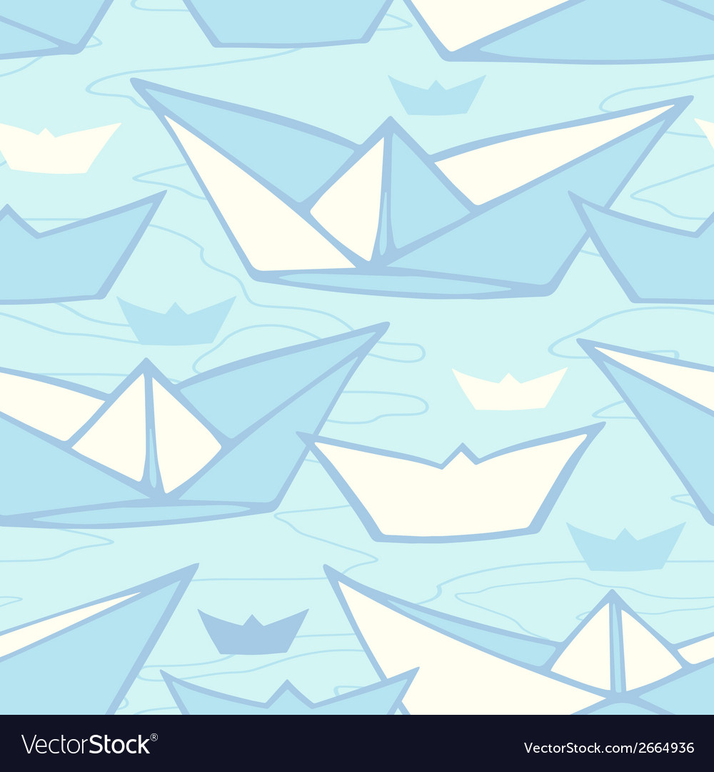 Seamless pattern with colorful paper ships endless vector   Price: 1 Credit (USD $1)