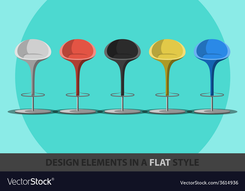 Set of colored stools in a flat style vector | Price: 1 Credit (USD $1)