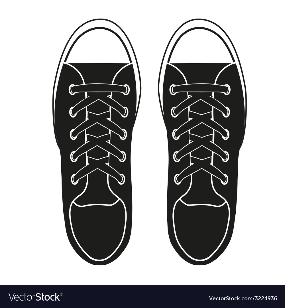 Silhouette simple symbol of gumshoes sneakers vector | Price: 1 Credit (USD $1)