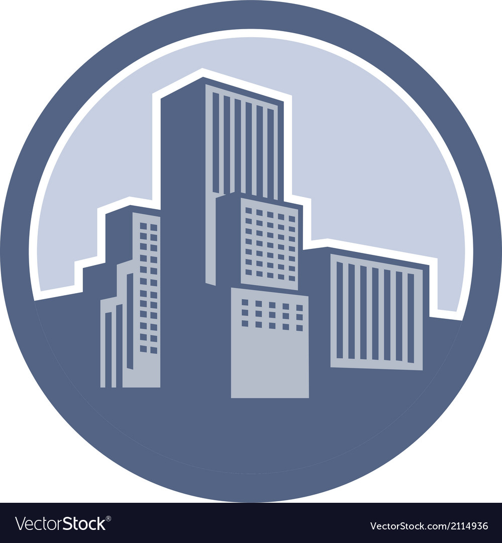 Urban skyscraper buildings circle vector | Price: 1 Credit (USD $1)