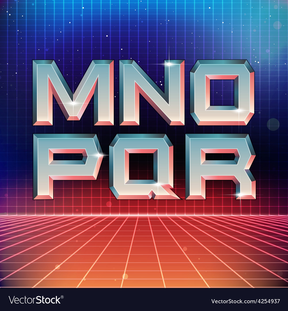 80s retro futuristic font from m to r vector | Price: 1 Credit (USD $1)