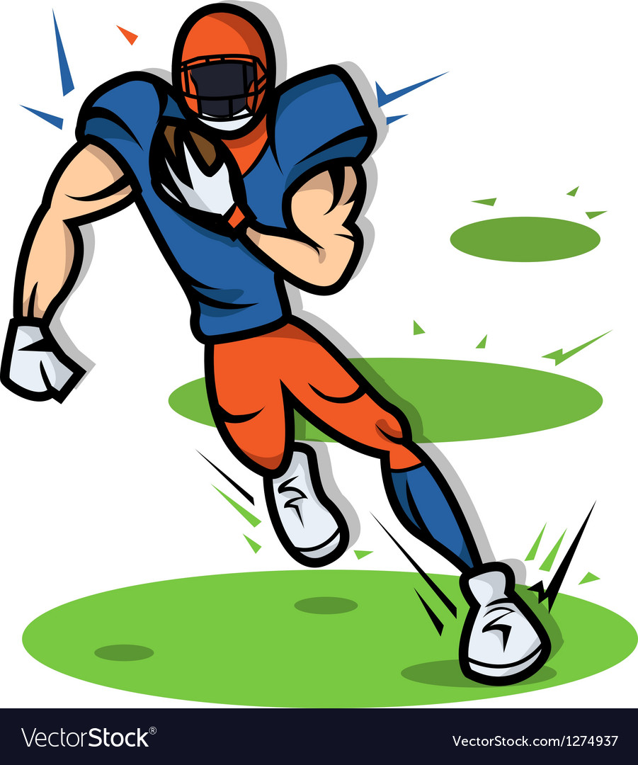 American football player cartoon with big muscle vector | Price: 1 Credit (USD $1)