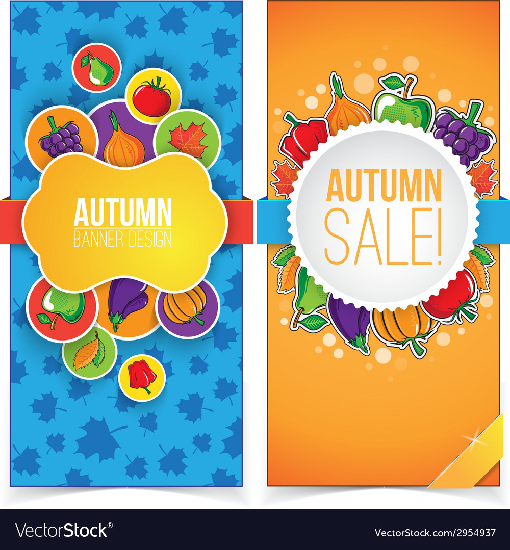 Autumn banner set with fruits and vegetables vector | Price: 1 Credit (USD $1)