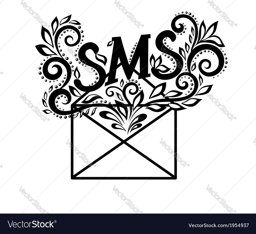 Black-and-white logo envelope sms in floral style vector | Price: 1 Credit (USD $1)