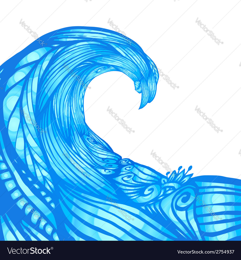 Blue ornate doodle wave background vector | Price: 1 Credit (USD $1)