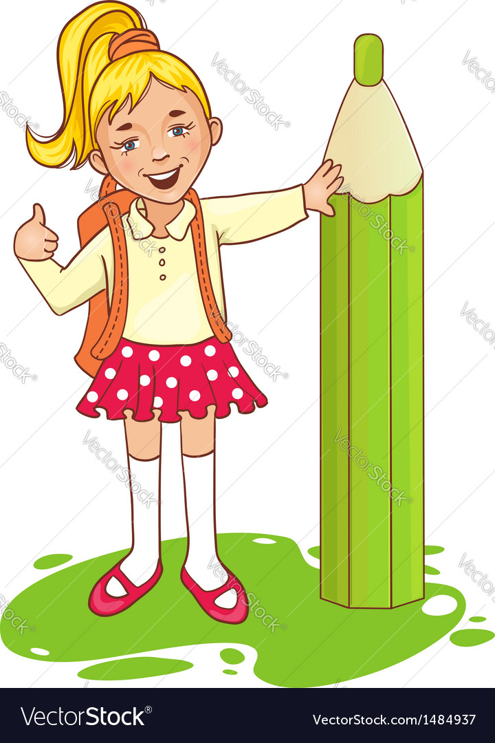 Cartoon schoolgirl near big pencil esp10 vector | Price: 3 Credit (USD $3)