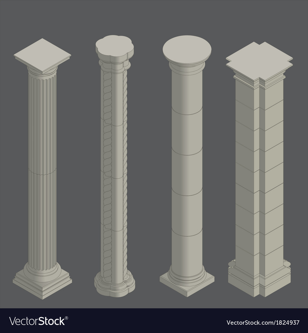 Classical columns isometric vector | Price: 1 Credit (USD $1)