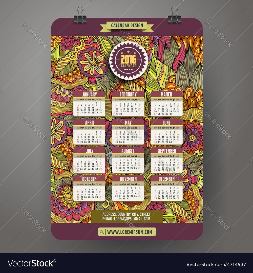 Doodles cartoon floral calendar 2016 year vector   Price: 1 Credit (USD $1)